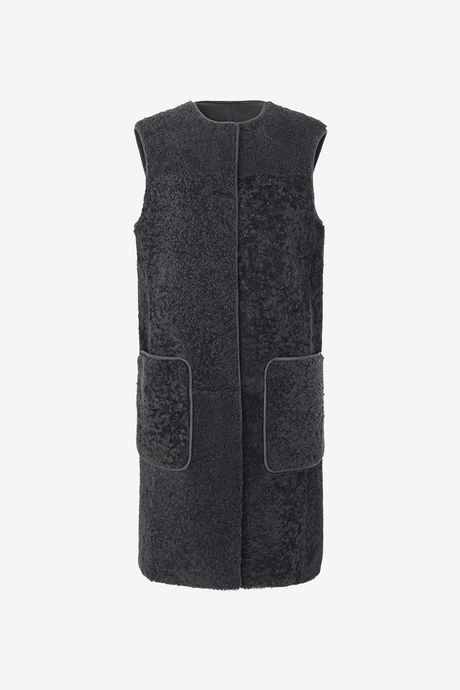 Birger Christensen Wall Shearling vest in grey anthracite