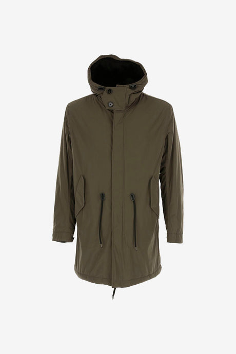 Army green long parka with a hood with drawstring closing, the front has a zipper and buttons closing.