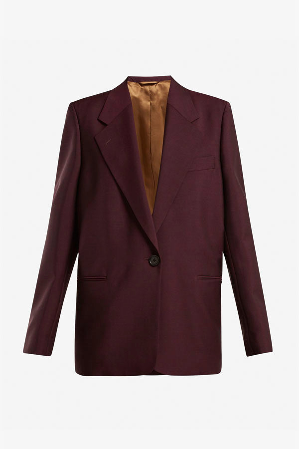 Acne Studios wine red single breasted blazer in mohair and wool blend.