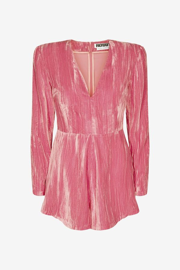 Short pink velvet jumpsuit with long sleeves