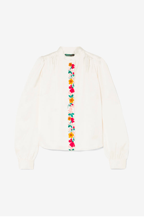 Alexa Chung satin blouse embroidered