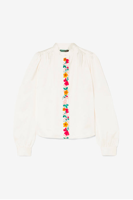 Embroidered Satin Blouse