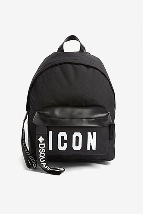 Black backpack with ICON logo hang strap