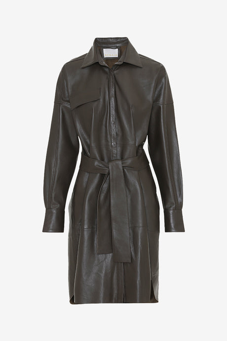 Leather shirt dress with dropped shoulder and a wide fit
