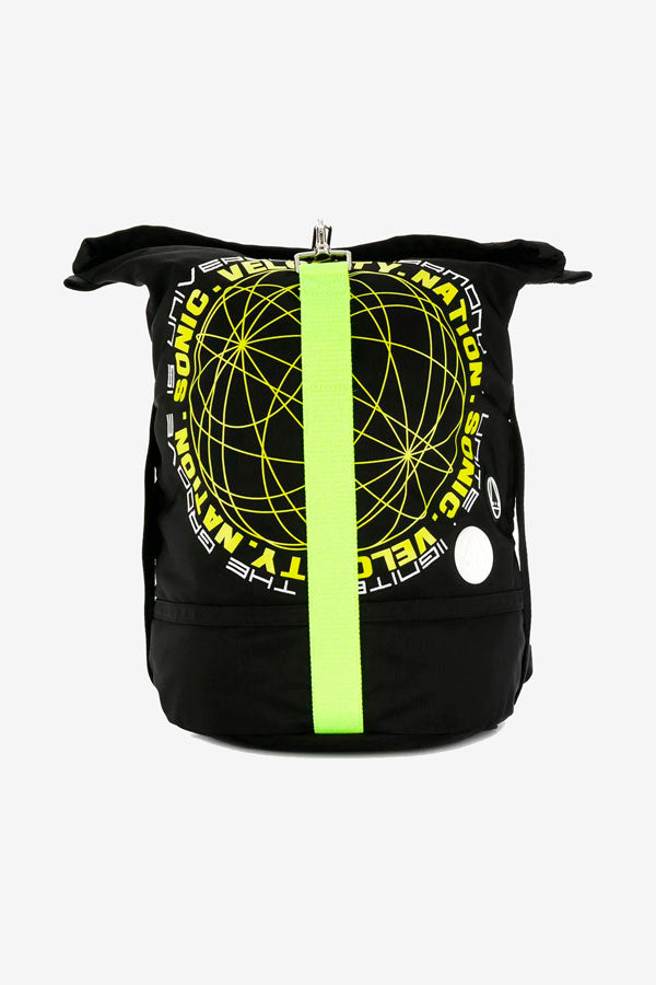 Backpack in black with neon yellow graphic on the front, large compartment with hook clip faste.ning