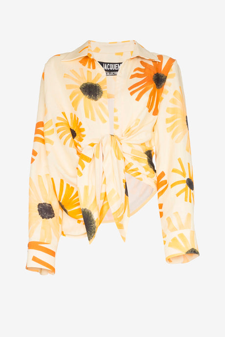 Bahia tie-waist shirt from Jacquemus in yellow and white floral print