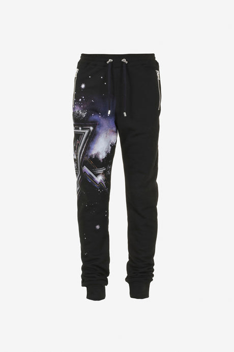 Balmain Trackpants Galaxy Print Black Purple