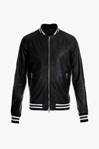 Balmain Leather Bomber Jacket Black Men