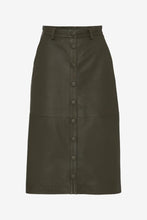 Long leather skirt with button closure