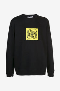 Black sweatshirt with a relaxed fit and a yellow print at the front and back