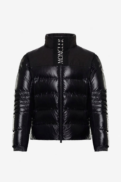 Black nylon jacket with a black polyester front and back yoke. Embroidered Moncler text logo in white on the front of the collar.