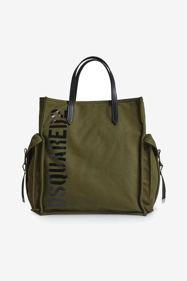 Back green canvas shopper with handle
