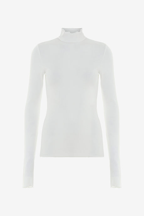 High neck top with long sleeves and a fitted silhouette