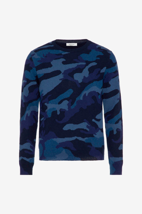 navy blue camouflage cashmere sweater