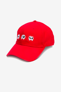 Baseball cap in red with a streetwear inspired logo on the front, and a patch logo in black at the rear.