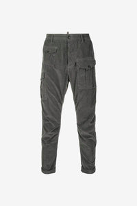 Cargo pants cut from a grey corduroy with multiple pockets.