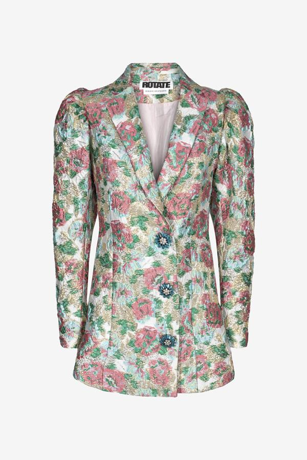 Jacquard blazer with puffy shoulders