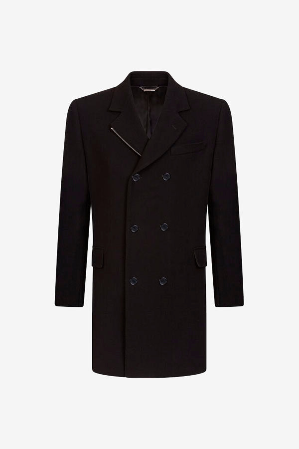Coat in a cashmere and wool. Double-breasted fastening with zipper details at the left lapel.