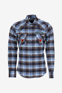 Blue and green checked shirt. It has a western inspired look and yoke, it has two front pockets and a button closing.