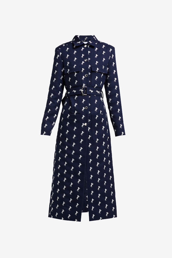 Chloé Chloe Little horses coat navy blue dark blue