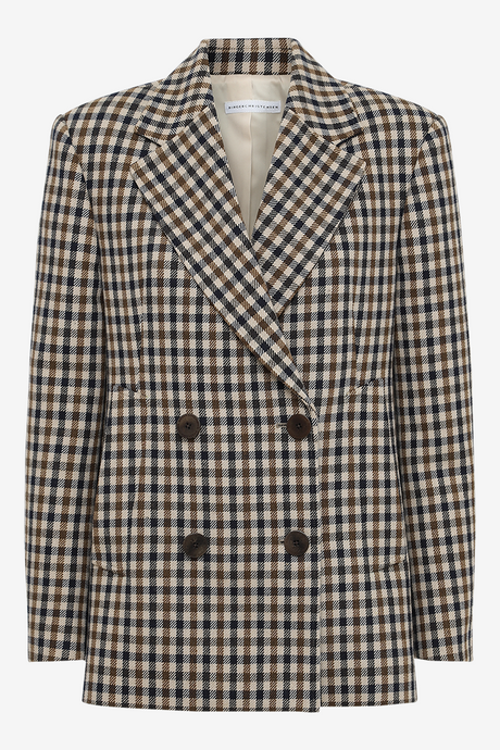 Daisy Bonded Check Jacket in wool blend with double breasted from REMAIN Birger Christensen