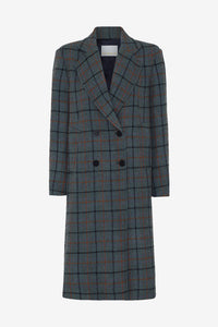 Boxy fitted check coat in a heavy wool