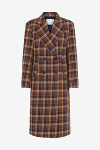 Long cotton coat with a boxy fit and wide collar