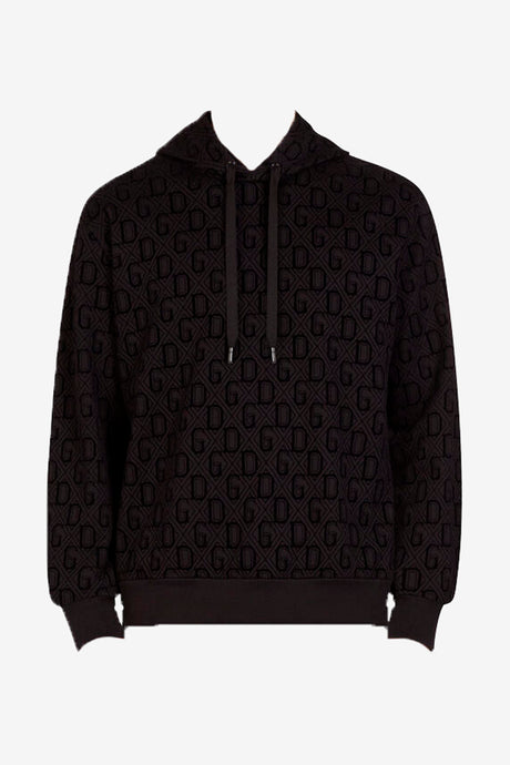 Hoodie from Dolce & Gabbana with flocked all-over DG print