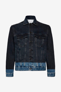 Classic trucker jacket in a black wash denim with the bottom in a contrast medium indigo. The jacket has a shirt collar and logo track buttons and welt pockets.