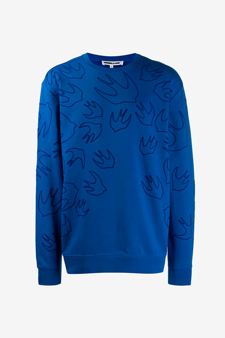 Sweatshirt in blue cotton with swallow graphics printed across the sweatshirt. It has a ribbed crewneck, cuff and hem.