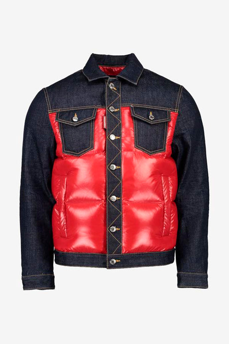 Down jacket made from a raw blue denim top and bottom, the middle is a bright red polyester. The front holds four pockets and button fastening. The Back yoke holds a black Dsquared2 logo.