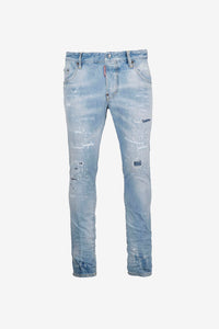 Trashed blue 5 pocket jeans