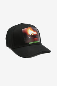 Black baseball cap with a large logo of a burning car.