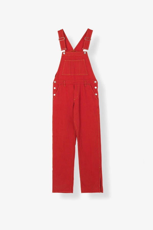 Ganni Denim dungaree smækbukser in fiery red overdye