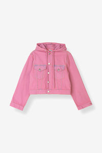 Denim hooded jacket Gani pink overdye