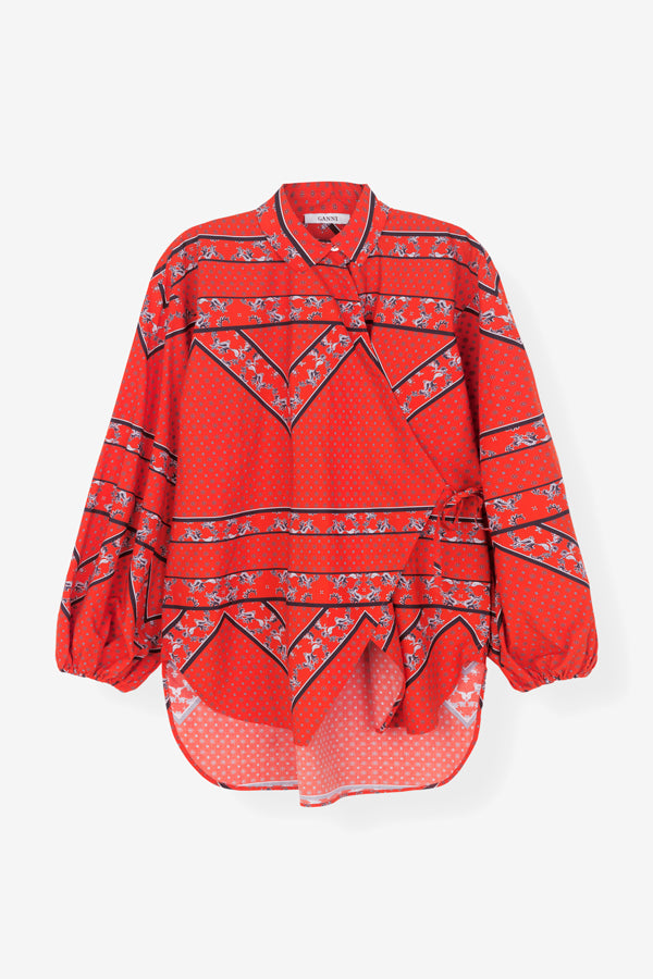 Faulkner wrap shirt red ganni