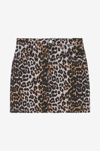 Denim Leopard Skirt
