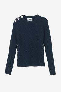 Cotton pullover with cable knitted details