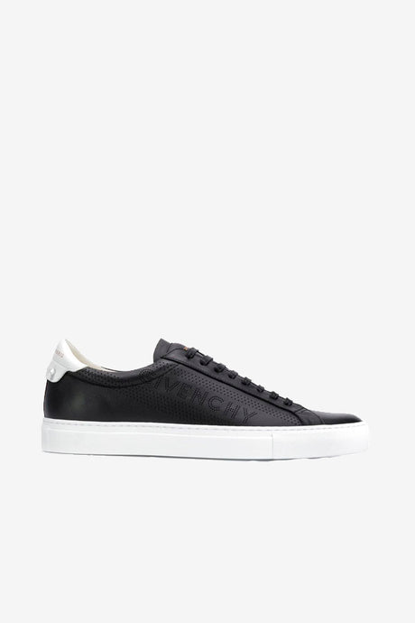 Street sneaker in matte black leather with white sole