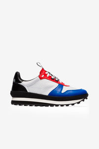 Red blue runner sneakers