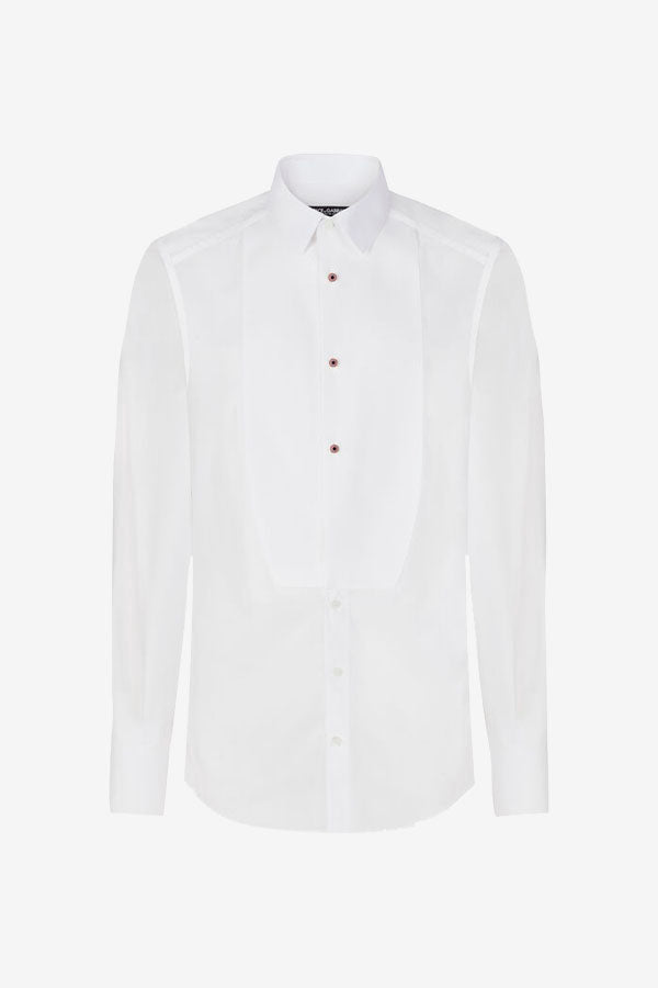 Tuxedo shirt in white cotton, with bejeweled buttons, on back is box pleat and yoke.