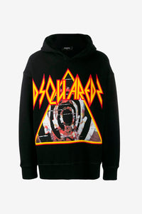 Hoodie in black cotton, with large bold graphic.