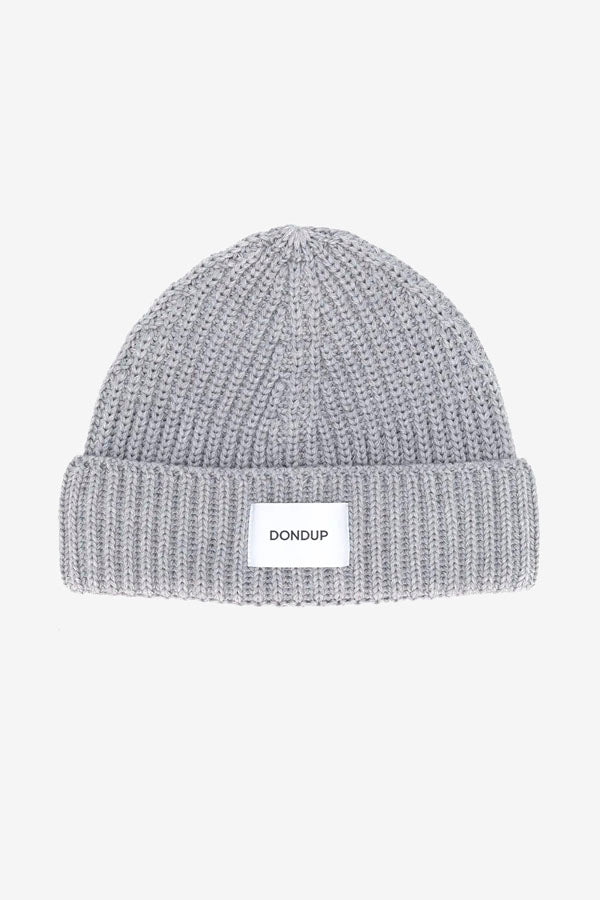 Beanie in ribbed grey wool blend, with a turn up hem and patch logo in white.