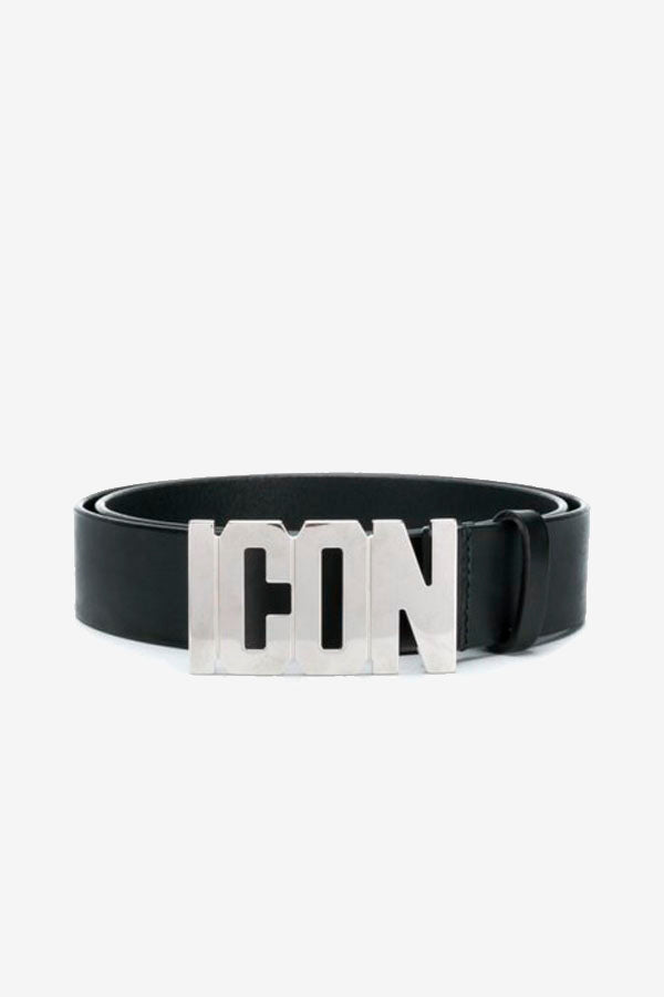 Black ICON Belt With Silver Logo