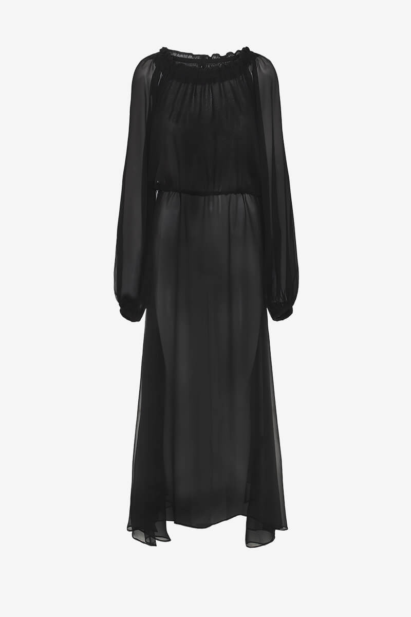 Rotate Birger Christensen Black long chiffon dress of shoulder