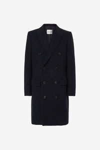 Double-breasted coat in wool and navy colored