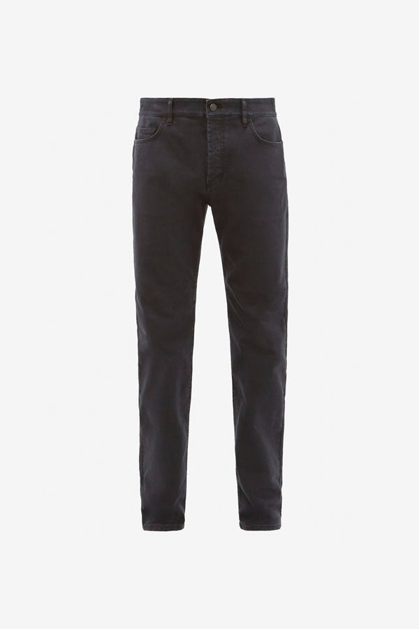 Classic men's five-pocket jeans in a faded black denim, with a zip fly and button fastening, with tonal stitching and metal rivets.