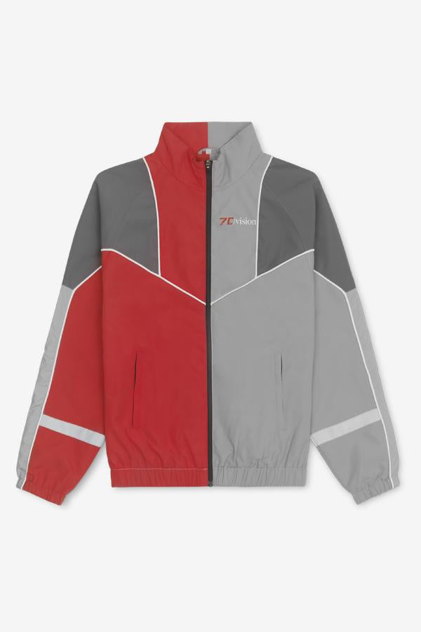 Red/Grey track jacket with zipper closure