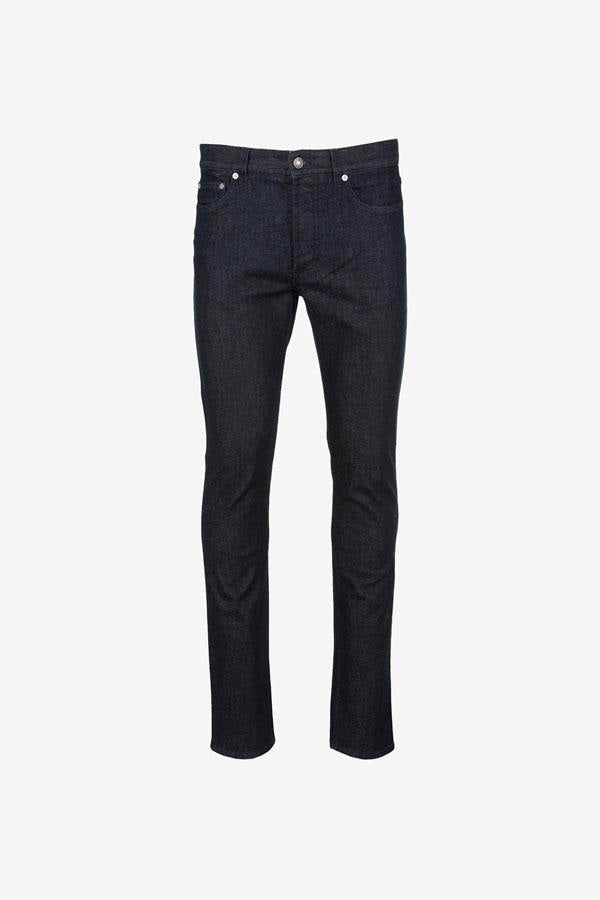 Dark blue jeans with a button and zipper closing.