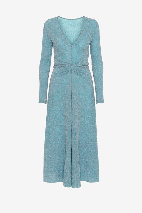 ROTATE Birger Christensen Light Blue shimmer dress V neck